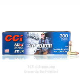 Image of CCI Mini-Mag MeatEater 22 LR Ammo - 300 Rounds of 36 Grain CPHP Ammunition