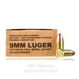 Image of Remington MIL / LE Contract Overrun 9mm Ammo - 500 Rounds of 115 Grain FMJ Ammunition