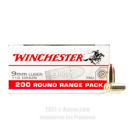 Image of Winchester 9mm Ammo - 200 Rounds of 115 Grain FMJ Ammunition