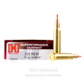 Image of Hornady 223 Rem Ammo - 20 Rounds of 53 Grain V-MAX Ammunition