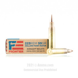 Image For 20 Rounds Of 55 Grain HP Boxer Brass 223 Rem Hornady Ammunition