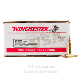 Image of Winchester USA 223 Rem Ammo - 150 Rounds of 55 Grain FMJ Ammunition