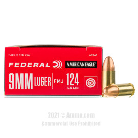 Image of Federal 9mm Ammo - 50 Rounds of 124 Grain FMJ Ammunition