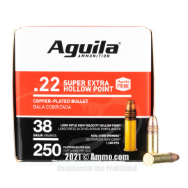 Image of Aguila 22 LR Ammo - 250 Rounds of 38 Grain CPHP Ammunition