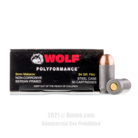 Image of Wolf 9mm Makarov Ammo - 50 Rounds of 94 Grain FMJ Ammunition