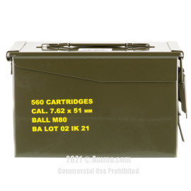 Image of Igman 7.62x51 Ammo - 560 Rounds of 147 Grain FMJ M80 Ammunition in Ammo Can