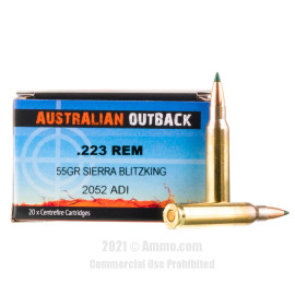 Image For 20 Rounds Of 55 Grain Polymer Tipped Boxer Brass 223 Rem Australian Outback Ammunition