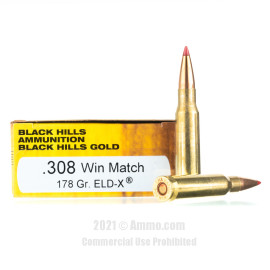 Image of Black Hills Gold 308 Win Ammo - 20 Rounds of 178 Grain ELD-X Ammunition