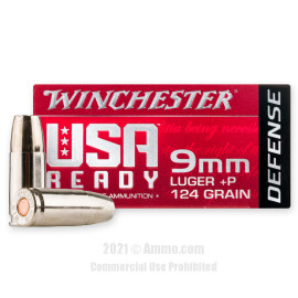 Image of Winchester USA Ready Defense 9mm +P Ammo - 20 Rounds of 124 Grain JHP Ammunition