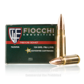 Image of Fiocchi 7.62x39 Ammo - 20 Rounds of 124 Grain FMJ Ammunition