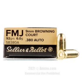 Image of Sellier and Bellot 380 ACP Ammo - 50 Rounds of 92 Grain FMJ Ammunition