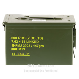 Image of Sellier & Bellot 7.62x51 Ammo - 500 Rounds of 147 Grain FMJ M80 Linked Ammunition