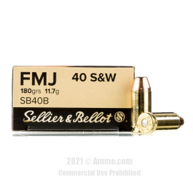 Image of Sellier and Bellot 40 cal Ammo - 1000 Rounds of 180 Grain FMJ Ammunition