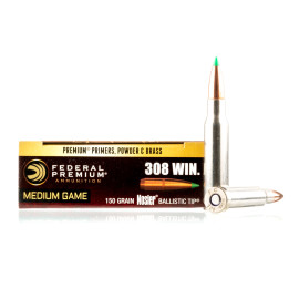 Image For 20 Rounds Of 150 Grain Nosler Ballistic Tip Boxer Brass 308 Win Federal Ammunition