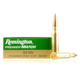 Image For 20 Rounds Of 175 Grain HPBT Boxer Brass 308 Win Remington Ammunition