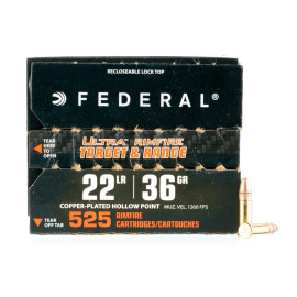 Image For 525 Rounds Of 36 Grain CPHP Rimfire Brass 22 LR Federal Ammunition