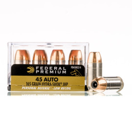 Image For 20 Rounds Of 165 Grain JHP Boxer Nickel-Plated Brass 45 Auto Federal Ammunition