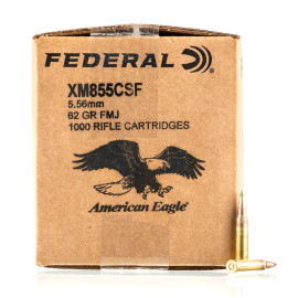 Image For 1000 Rounds Of 62 Grain FMJ-BT Boxer Brass 5.56x45 Federal Ammunition