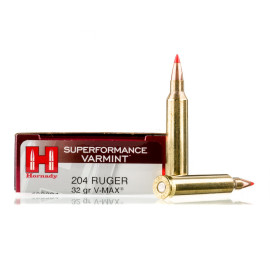 Image For 20 Rounds Of 32 Grain V-MAX Boxer Brass 204 Ruger Hornady Ammunition