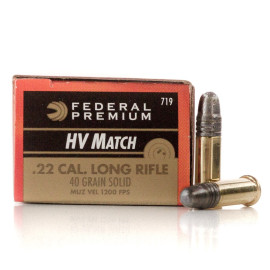 Image For 500 Rounds Of 40 Grain LRN Rimfire Brass 22 LR Federal Ammunition