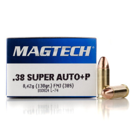 Image For 50 Rounds Of 130 Grain FMJ Boxer Brass 38 Super Magtech Ammunition