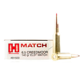 Image For 20 Rounds Of 140 Grain ELD Boxer Brass 6.5 Creedmoor Hornady Ammunition