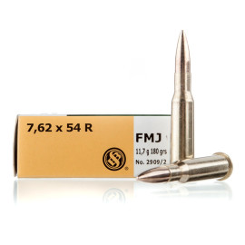Image For 20 Rounds Of 180 Grain FMJ Boxer Brass 7.62x54r Sellier and Bellot Ammunition