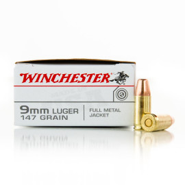 Image For 500 Rounds Of 147 Grain FMJ Brass 9mm Winchester Ammunition