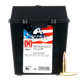 Image For 200 Rounds Of 125 Grain HP Boxer Brass 300 Blackout Hornady Ammunition