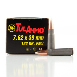 Image For 1000 Rounds Of 122 Grain FMJ Berdan Steel 7.62x39 TulAmmo Ammunition