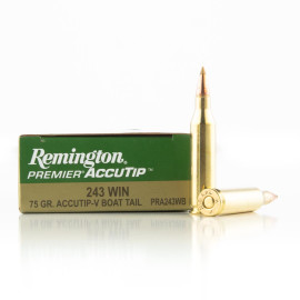 Image For 20 Rounds Of 75 Grain Accutip Boxer Brass 243 Win Remington Ammunition
