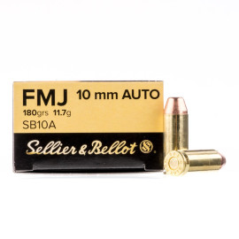 Image For 50 Rounds Of 180 Grain FMJ Boxer Brass 10mm Sellier and Bellot Ammunition