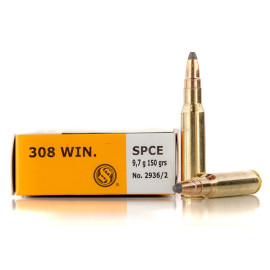 Image For 20 Rounds Of 150 Grain SPCE Boxer Brass 308 Win Sellier and Bellot Ammunition