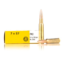 Image For 20 Rounds Of 140 Grain FMJ Boxer Brass 7x57mm Sellier and Bellot Ammunition