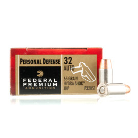 Image For 20 Rounds Of 65 Grain JHP Boxer Nickel-Plated Brass 32 ACP Federal Ammunition