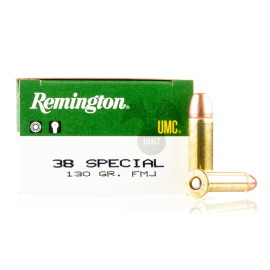Image For 50 Rounds Of 130 Grain FMJ Boxer Brass 38 Special Remington Ammunition