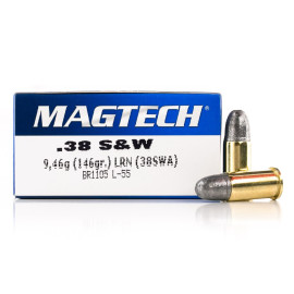 Image For 50 Rounds Of 146 Grain LRN Boxer Brass 38 S&W Magtech Ammunition