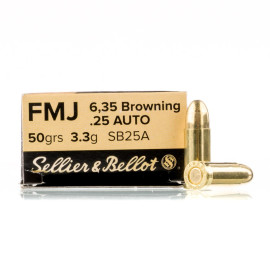 Image For 50 Rounds Of 50 Grain FMJ Boxer Brass 25 ACP Sellier and Bellot Ammunition