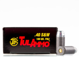 Image For 50 Rounds Of 180 Grain FMJ Boxer Steel 40 Cal TulAmmo Ammunition