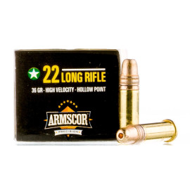 Image For 50 Rounds Of 36 Grain HP Rimfire Brass 22 LR Armscor Ammunition