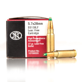 Image For 500 Rounds Of 27 Grain JHP Boxer Brass 5.7x28 FN Herstal Ammunition