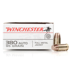 Image For 50 Rounds Of 95 Grain FMJ Boxer Brass 380 ACP Winchester Ammunition
