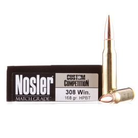 Image For 20 Rounds Of 168 Grain HPBT Boxer Brass 308 Win Nosler Ammunition Ammunition