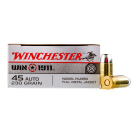 Image For 50 Rounds Of 230 Grain FMJ Boxer Nickel-Plated Brass 45 Auto Winchester Ammunition