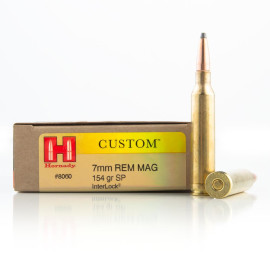 Image For 20 Rounds Of 154 Grain SP Boxer Brass 7mm Rem Magnum Hornady Ammunition
