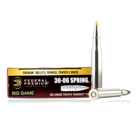 Image For 20 Rounds Of 180 Grain Trophy Bonded Tip Boxer Nickel-Plated Brass 30-06 Federal Ammunition