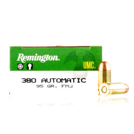 Image For 50 Rounds Of 95 Grain FMJ Boxer Brass 380 ACP Remington Ammunition