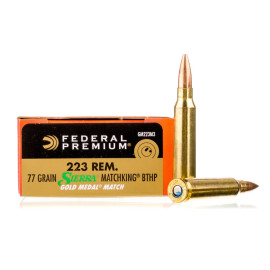 Image For 200 Rounds Of 77 Grain HPBT Boxer Brass 223 Rem Federal Ammunition