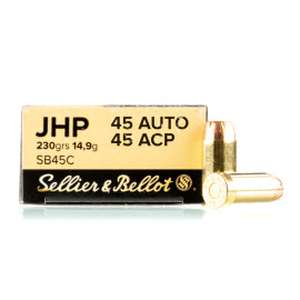 Image For 50 Rounds Of 230 Grain JHP Boxer Brass 45 Auto Sellier and Bellot Ammunition