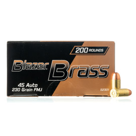 Image For 200 Rounds Of 230 Grain FMJ Boxer Brass 45 Auto Blazer Brass Ammunition